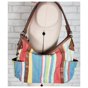 Fossil Classic 1954 Leather & Canvas Hobo Purse